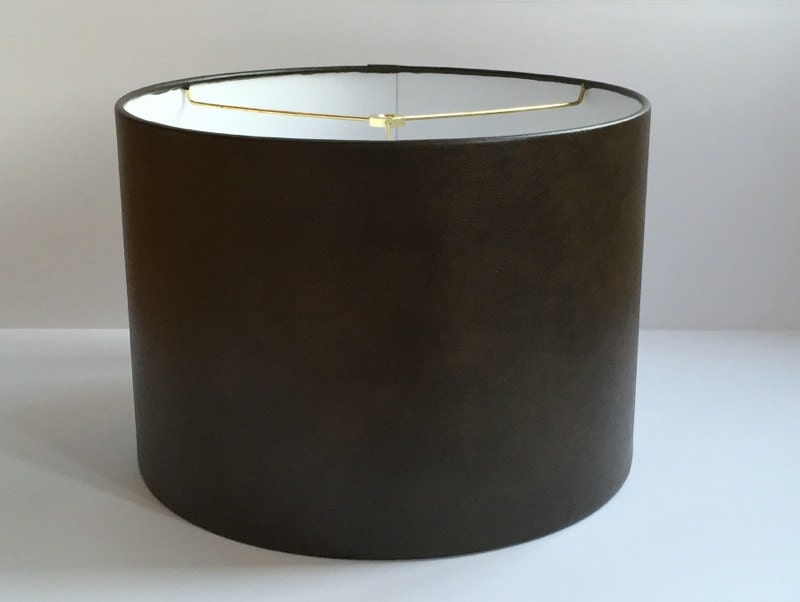 small brown faux leather drum lamp shade by lampshadedesigns. Black Bedroom Furniture Sets. Home Design Ideas