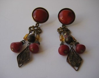 Brass Earrings Brick Red Chandelier Long Dangle Boho Pierced