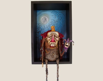 The Lost King - Handmade Sculpture, Polymer Clay, surrealism.