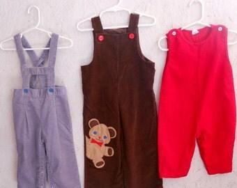 Vintage Toddler Corduroy Overalls . Lot of 3 . Suspenders Teddy Bear Jumper . 6 months-2T