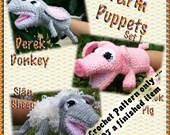 PDF Crochet Pattern Farm Puppets Set 1