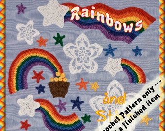 PDF Crochet Pattern Rainbows and Stars for Scrapbooking