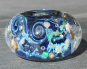 Galaxy 12 Handmade Boro Lampwork Glass Bead Focal Bead With Pure Silver Large Hole Size