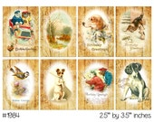 Vintage Collage, instant download, Vintage men's birthday images masculine, dogs bears birds--Digital Collage Sheet (8.5 by 11 inches) 1984