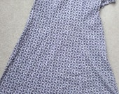 "Handmade unworn vintage navy white cotton floral print shift dress 40"" chest"
