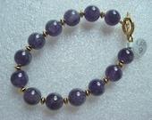 Purple Amethyst and Gold Bracelet (B551)