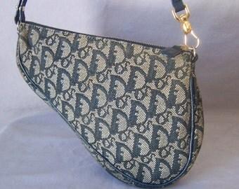 vintage Christian Dior signature navy pochette wristlet bag