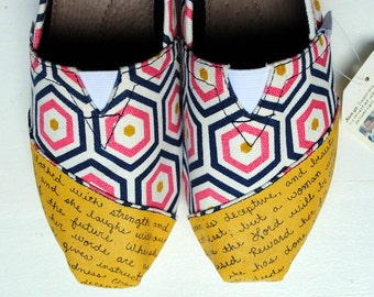 Ready To Ship - Womens Size 8 - Navy, Pink and Yellow Geometric Print - Womens Bible Verse TOMS, Proverbs 31, Custom hand painted shoes