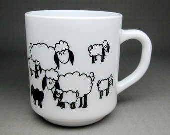 arcopal black sheep mug france white glass