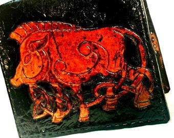 Celtic Irish Gift - Celtic Boar - Celtic Knotwork - Biker Gift - Celtic Wallet - Gift for Him - Personalize. Holds 8 cards,1 compartment.