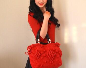 Handmade Burgundy Knit Bag, Celebrity Style,Crochet moms bag,satchel, fashion