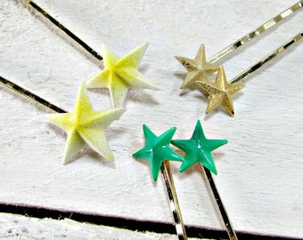 Vintage Star Hair Pin / Bobby Pin Set, Green Yellow Gold Star Hair Bobby Pins, Decorative Hair Pins, Star Jewelry, 1950s Hair Accessories