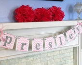 Baptism decorations - Childrens NAME Banners -  Birthday Banner - Christening decorations - Custom Colors