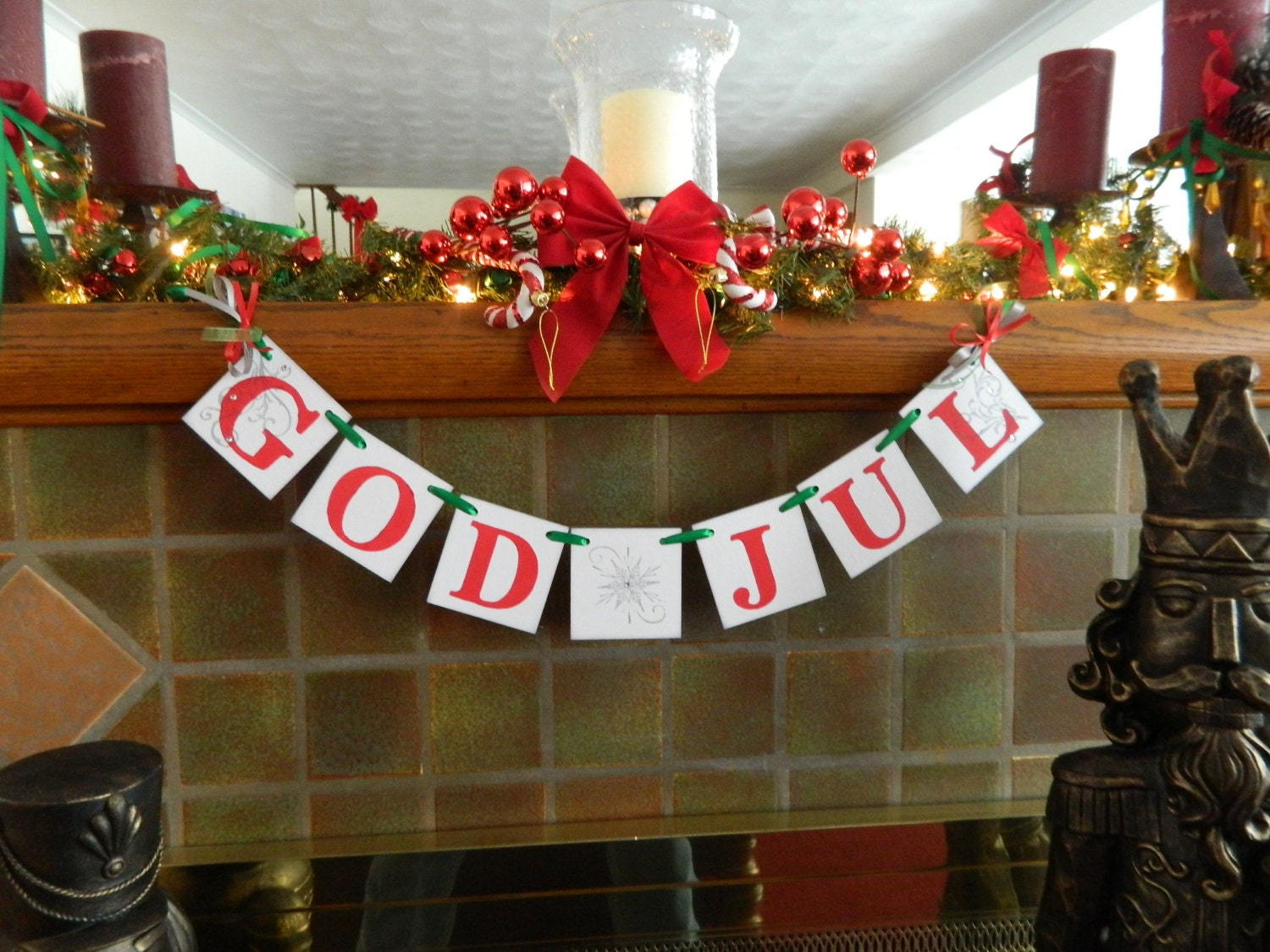 God Jul Banner Norwegian Holiday Decorations Happy