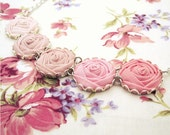 Blush Pink Rose Necklace in Peony, Passion & Pastel Pink - Sweet Summer Wedding