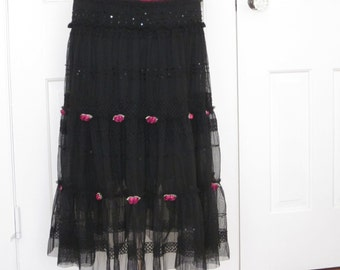 Black Ruffle Skirt, Black Embellished Skirt,Lace Skirt, Sequins,Hand Sewn Roses,Tiered Skirt, Ruffles,Smocking,Gypsy Skirt,Dance,Fairy