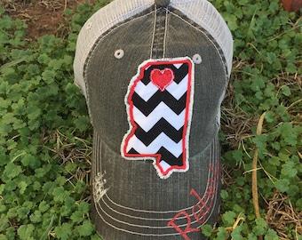 University of Mississippi Ole Miss Rebels State Baseball Bling Ladies Womens Trucker Hat