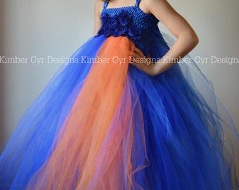 CLOSEOUT sale: Cobalt blue and Orange Tutu Dress--