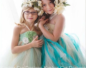Teal and Ivory or White Flower Girl Party Dress--Customize
