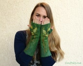 Green felted arm warmers. Fairy felted wool fingerless mittens. Long arm warmer fingerless gloves. Forest, grass, leaves. Driving, texting S