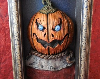 Scarecrow pumpkin shadow box sculpture just in time for Halloween