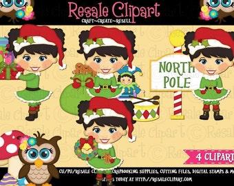Santa's Little Helper Girl 1 Clipart (Digital Download)
