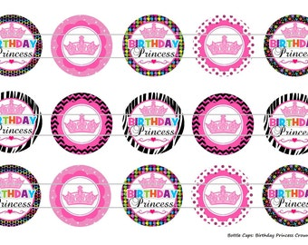 """Birthday Princess Crowns Digital Download for 1"""" Bottle Caps (4x6)"""