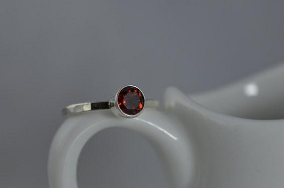 Sterling Silver Gemstone Ring - 5mm Red Garnet Ring - January Birthstone Ring