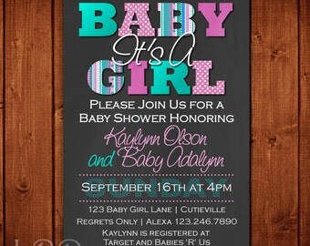 Pink and Turquoise Baby Shower Invitation Printable Digital File or Add Prints | It's a Baby Girl | Free Shipping