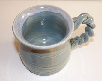 Coffee Cup in blue unique handle