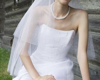 Adelle Circular Center Gathered  Elbow Bridal Veil