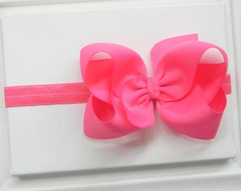 Hot Pink Bow Headband - Hot Pink Boutique Bow Headband