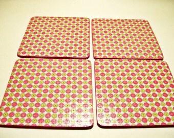 Dots Glitter Pink  Coasters Wooden Decoupaged