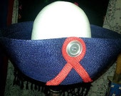 Adolfo-Realites-New-York-Paris-Vintage-Hat-nautical-1966- Navy Blue Button rare