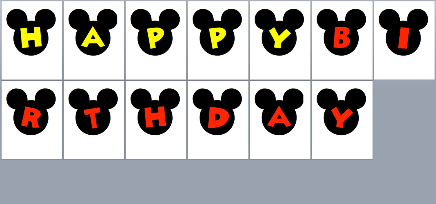 Printable Minnie or Mickey Mouse Birthday Party Bunting Banner
