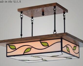 Mission Chandelier - Art Nouveau Style Glass