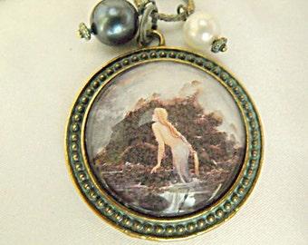 Bronze Pendant Necklace,   Vintage Mermaid Image Necklace Verdigris Patina Finish Pearls  Womens Gift