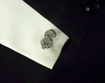Mens Cufflinks,  Silver Dollar Sign With Clear Rhinestones Mens Accessories  Handmade