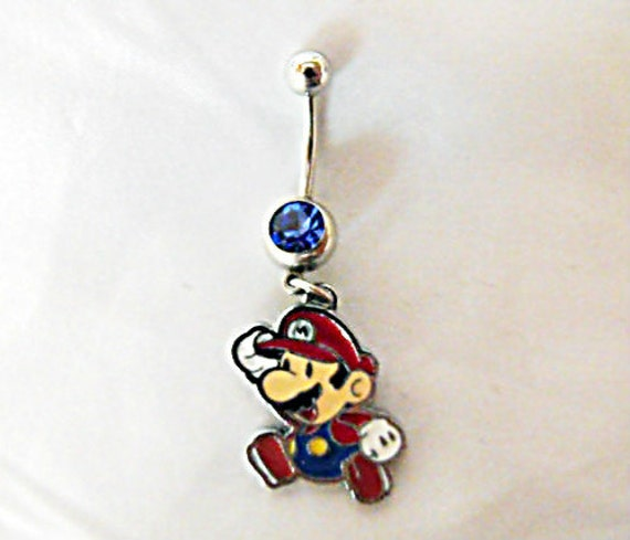 Belly Ring,  Mario Brothers Video Game Womens Gift Handmade