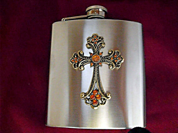 Flask,  Gothic Victorian Cross With Rhinestones, Stainless Steel Flask 6 Ounces  Mens Womens Gift Idea Wedding Favors