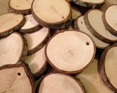 """Predrilled Wood slices 25 - 3"""" - rustic wood slices for weddings, tags, favors, decor, crafts & more"""