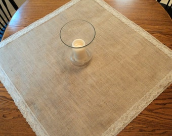 Choose Your Size Square Burlap and Lace Table Overlays Wedding Centerpiece Decor Burlap and Lace Table Toppers