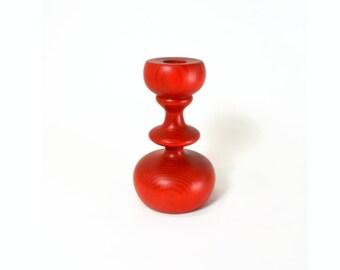 Vintage Scandanavian Modern Candle Holder // Vintage Red Wood Candle Holder Made in Sweden