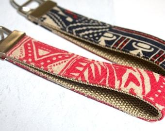Cotton Linen BOHO Fabric Keychain, Key Fob, Wristlet