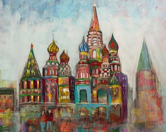 CITYSCAPE of MOSCOW RUSSIA Print on Canvas of Original Painting St. Basils Signed and Ready to Hang