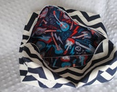 Navy Blue Zigzag Canvas Storage Bag - Rock and Roll Print Inside - Fits most SSC (Baby Carriers) - Chevron Zippered Pouch - Car Diaper Bag