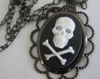 Skull and crossbones cameo Halloween necklace