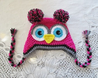 Bright Pink, Dark Grey and Black Crochet Owl Hat - Photo Prop - Available in Any Size or Color Combination