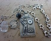 Sold Reserved for Jody...1924 STERLING RIFLE MEDAL vintage assemblage antique necklace