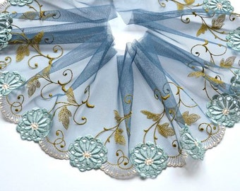 Slate Blue Lace Trim, Aqua Embroidered Trim, Floral Lace, Lace Fashion, Dolls, Upcycling, Lace Crafts